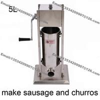 Envío gratis Uso comercial 5L Acero inoxidable Manivela Vertiacal Embutidor de salchichas y máquina de fabricación de churros
