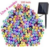 8 modos de Lâmpadas LED LEVARAM Luzes Da Corda 12 m 100 LEDS Ao Ar Livre Fada Festa de Natal Do Feriado Guirlandas Solar Gramado Jardim Luzes À Prova D 'Água