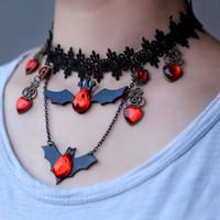 Mode Noir Strass Bat Collier Ras Du Cou Pour Femmes Accessoires Dentelle Foulard Colliers Pendentifs Halloween Bijoux en gros