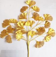 60 cm Ginkgo Biloba Liść Pięć Oddziałów Maidenhair Drzewa Liście Sztuczne Drzewo Jedwabne Oddział Stem Ślub Ogród Dekoracji 12 SZTUK ONE SET WQ21