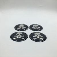 4PCS / 로트 65mm 휠 센터 캡 엠블럼 스티커 해골 헤드 자동차 스타일링 허브 캡 배지 데칼
