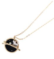 Wholesale-N147 Freies Verschiffen 18K Vergoldungs-Märchen-nette Katzen-Stern-Planeten-hängende Halsketten Großhandels-HY
