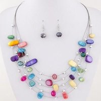 Belas mulheres conjuntos de jóias multi camada de cristal shell 6 cor opção de cor pingente bib colar brinco conjunto