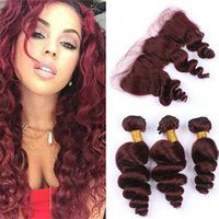 Brazilian Loose Wave Burgundy 3 Bundles with Lace Frontal Cl...