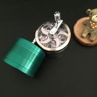 Herb Millinder Tube de 63 mm Material de aleación de zinc con 4layers Handle Blender Sharp Stone Grinder Cigarette Tubos de filtro de cigarrillos Cerámica Nailless Uñas
