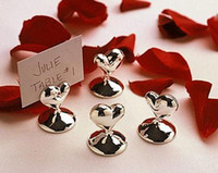 120pcs lot wedding favors silver heart design chrome place card holders party supplies favors free shipping