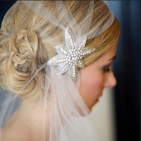 Soft Nylon Ivory Short Wedding Veil With Crystals Voile Mariage Accessoire Mariage Mantilha De Noiva Wedding Hat Veils