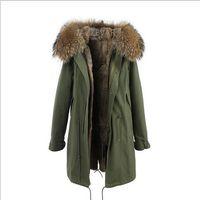 forro de pele de coelho rosa claro grama marca Jazzevar longo Lavados escudo azul demin longos casacos de neve parka