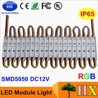 Módulo LED superbright Lámpara de luz SMD 5050 IP65 IP65 A prueba de agua Módulo de luz LED LED Luces traseras SMD 3LED DC12V RGB Cálido blanco rojo
