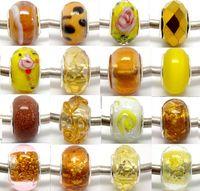 100pcs YellowGold vetro di murano argento nucleo perline per monili che fanno lampwork sciolto fascino perline fai da te per il braccialetto all'ingrosso in massa prezzo basso