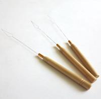10pcs / sac Poignée En Bois Micro Anneaux Crochet Boucle Outil Boucle De Filetage Aiguille Tirant Pour Nano Anneau Cheveux Extensions
