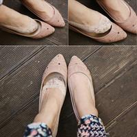 Toptan-Son rahat güney Koreli kadınlar kayalar elastik pamuk dantel antiskid somun düşük kesim ince çorap