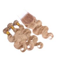 9A Malásia Onda do corpo Humano cabelo 3 pacotes com fecho de renda 4 PCs / lote Honey loira # 27 térmico de cabelo com fechamento superior 4x4