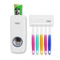 1セット歯ブラシホルダー自動歯磨き粉ディスペンサー+ 5歯ブラシホルダー歯ブラシ壁マウントスタンドバスルームツール