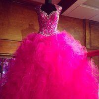 Echte afbeelding Hot Pink Maskerade Quinceanera Jurken 2016 Vestidos de 15 Anos Crystal Beaded Sweet 16 Prom verjaardagsfeestjes