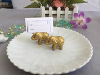 Hot Golden Lucky Elephant Place Titulares de la tarjeta Nombre Número Table Place Place Favor de la boda Gift Unique Party Favors