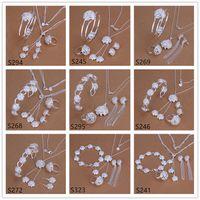 5 conjuntos estilo misto mulheres esterlinas de prata de prata jóias, moda 925 colar de prata pulseira brinco anel jóias conjunto gts40 frete grátis