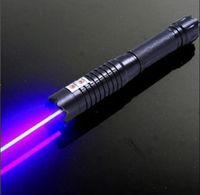 последние Высококачественные Сильные силы военные 200000 м Фонари синие лазерные указки 450 нм SOS Фонарик Луч Охота Обучение лазера 5 колпачков