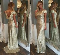 Şampanya Altın Sequins Uzun Gelinlik Modelleri 2016 Sparkly Yüksek Boyun Kısa Kollu Backless Düğün Törenlerinde Hizmetçi Onur Elbiseler Genç