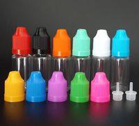 다채로운 Childproof 모자와 긴 얇은 팁 PET 빈 E의 CIG 액체 플라스틱 병 페덱스 / DHL과 함께 공장 가격 10ml의 클리어 dropper 병