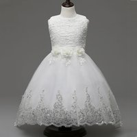 Elegant White 3D Flowers Bow Lace Crochet Wedding Party Dres...