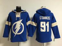 Youth Hockey Jersey Cheap ، تامبا باي لايتنينغ هودي # 91 ستيفن ستامكوس ، شعارات التطريز ، هوديس ، بلوزات ، أي اسم ورقم