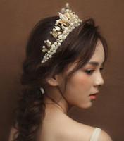 Oro Vintage Joyería de novia Pearl Pearl Accesorios para el cabello Cristal Banda de pelo DIEADA DIEADA CRIDAL TIARA Joyería de boda HT121