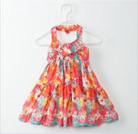 2016 새로운 도착 빅 소녀 여름 공주 드레스 어린이 플로랄 민소매 서스펜더 드레스 패션 소녀 Backless 복장 100-150cm