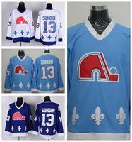 Quebec Nordiques 13 Mats Sundin Eishockeytrikots Sportheim Navy Blue White Road Away Genäht Beste Qualität zum Verkauf
