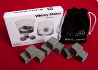 Whisky Stones, Chillers di bibita in pietra ollare, Vodka, vino, scatola delicata + sacchetto di velluto pietra di roccia di whisky