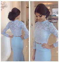 High Neck Lace Vintage Evening Dress Long Sleeve See Through...