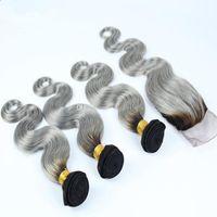 Top 9a Brazylijski Srebrny Szary Ombre Human Włosy Z Zamknięciem 4 SZTUK Lot Body Wave # 1B / Gray Dwa Tone Brazylijski Ombre 3 Z Zamknięciem