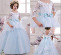 Lace Beaded Half Sleeves Sash Ball Gown Flower Girl Dresses ...