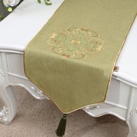 120 inch extra lang borduurwerk gelukkig tafel runner high-end katoen linnen moderne eenvoudige tafel doek Chinese stijl eettafel matten 300x33 cm