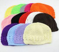 Taille de gros 20pcs: M, enfants L coton casquettes kufi classique en tricot à la main kufi chapeau bébé fille bonnet crochet knited Skull MZ9109