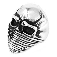 Spedizione gratuita! Anello americano degli uomini del cranio del motociclista dell'anello del motociclista degli anelli classici del cranio dell'anello dell'acciaio inossidabile della bandiera americana all'ingrosso SWR0368A