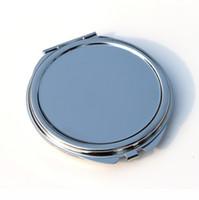 Blanco redondo delgado compacto espejo de plata de metal maquillaje espejo de maquillaje favorito regalo promocional # 18032-1