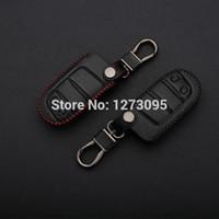 Costurado mão do couro genuíno Car Keychain para Jeep Grand Cherokee 2014 2 botões inteligentes remoto Case Capa Chave Titular Auto Acessórios