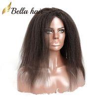 Perruques pleines de dentelle pour femmes noires 100% cheveux humains dentelle perruques Kinky Couleur naturelle droite Cap Cap Bella cheveux