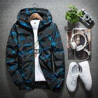 Wholesale- Camouflage Hooded Jacket Uomo / Donna Traspirante Ultra-leggero Mens Giacche e cappotti Softshell Giacche antivento impermeabili Blu