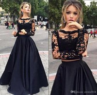 Lace Long Sleeve Two Piece Prom Dresses 2017 Black Scoop Nec...