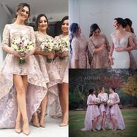 Zuhair Murad Arabisch Hi-Lo Juwel Hals Half Ärmeln Brautjungfern Mädchen Kleid Kleid Spitze Applique Formale Mädchen Ehrenkleid Gowns