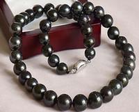 10-11mm Collana di perle nere rotonde Collane di perline 18 pollici in argento 925 Accessori