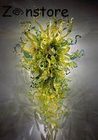 ربيع زهرة خضراء ملونة جميلة في مهب زجاج مصابيح الحائط مخصص زخرفة الزجاج إيطاليا تصميم زجاج مورانو LED مصدر الضوء الجدار الشمعدان