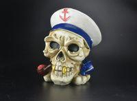 Esqueleto Marinheiro Marinha Cinzeiro ---- óleo bongos de vidro da tubulação de água de espessura pyrex mini heady líquido sci tubulação de água, cor de entrega aleatória