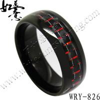 Rode en zwarte koolstofvezel inlay half ronde zwarte wolfraamringbanden voor mannen WRY-826 8 mm breedte