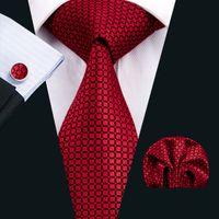 Красный Mens галстука Классический шелковый галстук наборы Чеки галстук для мужчин Галстук Hanky Запонки Jacquard Woven деловая встреча Свадеб N-1573