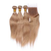 레이스 클로저와 함께 말레이시아 스트레이트 인간의 머리카락 3 번들 허니 금발 # 27 레이스 클로저와 여성 의류 4x4 무료 부분