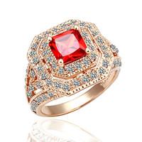 Мода кластера кольца Циркон 18k розовое золото бриллиантовое кольцо горячий продавать блестящие кольца с заводской ценой