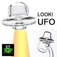 COOL !! Universal UFO Quartz Carb Bouchon Pour Quartz Banger Nails / Quartz Enail, Ventre En Cristal Pur Bouton Pour Les Tuyaux D'eau En Verre Livraison Gratuite